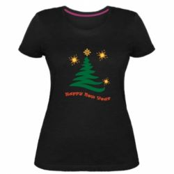 Жіноча стрейчева футболка Ялинка з іскрами