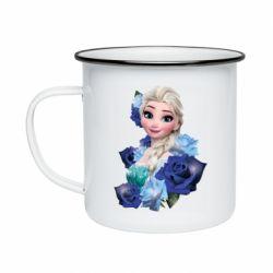 Кружка емальована Elsa and roses