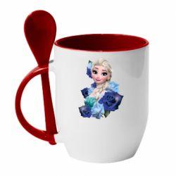 Кружка з керамічною ложкою Elsa and roses