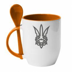 Кружка з керамічною ложкою Emblem 18