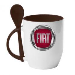 Кружка з керамічною ложкою Emblem Fiat