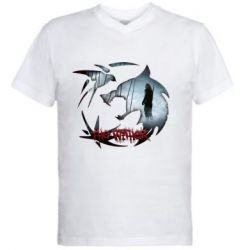 Мужская футболка  с V-образным вырезом Emblem wolf and text The Witcher