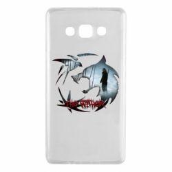 Чехол для Samsung A7 2015 Emblem wolf and text The Witcher