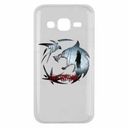 Чехол для Samsung J2 2015 Emblem wolf and text The Witcher