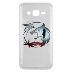 Чехол для Samsung J5 2015 Emblem wolf and text The Witcher