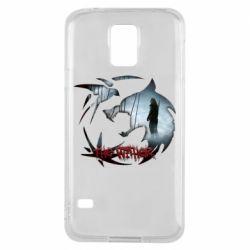 Чехол для Samsung S5 Emblem wolf and text The Witcher