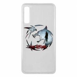 Чехол для Samsung A7 2018 Emblem wolf and text The Witcher