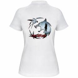 Женская футболка поло Emblem wolf and text The Witcher