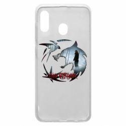 Чехол для Samsung A30 Emblem wolf and text The Witcher