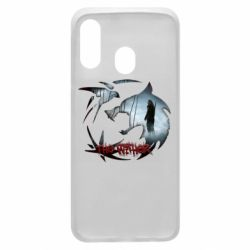 Чехол для Samsung A40 Emblem wolf and text The Witcher