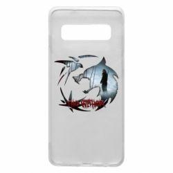 Чехол для Samsung S10 Emblem wolf and text The Witcher