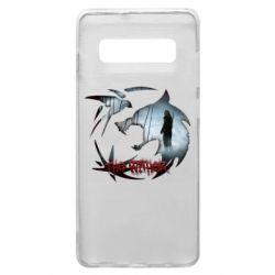 Чехол для Samsung S10+ Emblem wolf and text The Witcher