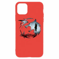 Чехол для iPhone 11 Emblem wolf and text The Witcher