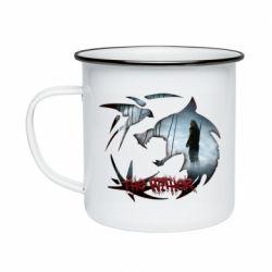 Кружка эмалированная Emblem wolf and text The Witcher