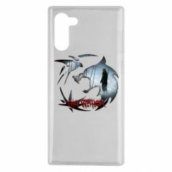 Чехол для Samsung Note 10 Emblem wolf and text The Witcher