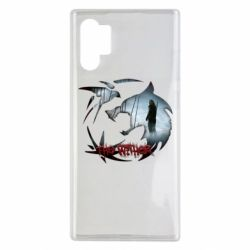 Чехол для Samsung Note 10 Plus Emblem wolf and text The Witcher