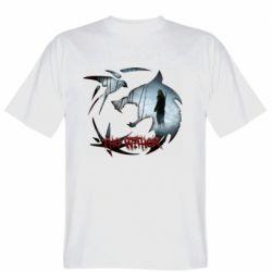 Мужская футболка Emblem wolf and text The Witcher