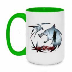 Кружка двухцветная 420ml Emblem wolf and text The Witcher