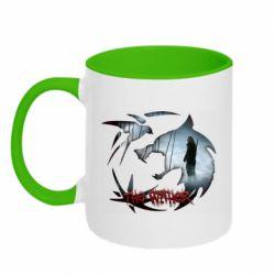 Кружка двухцветная 320ml Emblem wolf and text The Witcher
