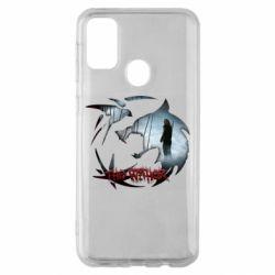 Чехол для Samsung M30s Emblem wolf and text The Witcher