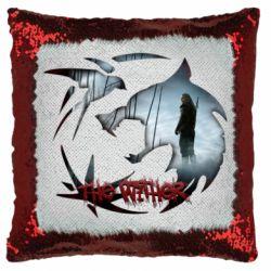 Подушка-хамелеон Emblem wolf and text The Witcher