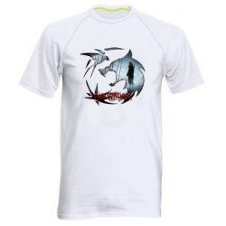 Мужская спортивная футболка Emblem wolf and text The Witcher