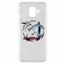 Чехол для Samsung A6 2018 Emblem wolf and text The Witcher