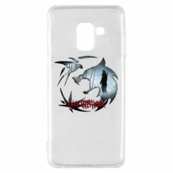 Чехол для Samsung A8 2018 Emblem wolf and text The Witcher