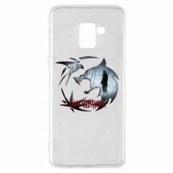 Чехол для Samsung A8+ 2018 Emblem wolf and text The Witcher