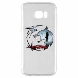 Чехол для Samsung S7 EDGE Emblem wolf and text The Witcher