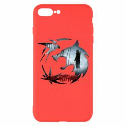 Чехол для iPhone 8 Plus Emblem wolf and text The Witcher
