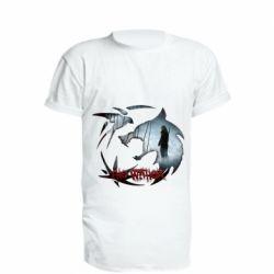 Удлиненная футболка Emblem wolf and text The Witcher