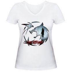 Женская футболка с V-образным вырезом Emblem wolf and text The Witcher