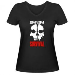 Женская футболка с V-образным вырезом Eminem Survival
