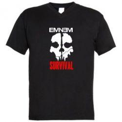 Мужская футболка  с V-образным вырезом Eminem Survival - FatLine