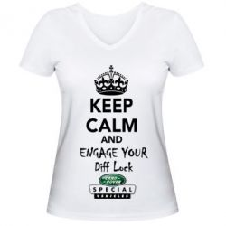 Женская футболка с V-образным вырезом Engage your diff lock