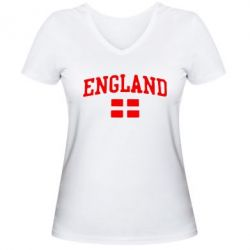 Женская футболка с V-образным вырезом England - FatLine