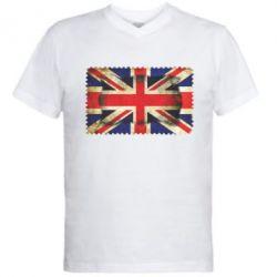Мужская футболка  с V-образным вырезом England - FatLine