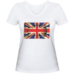 Женская футболка с V-образным вырезом England