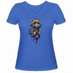 Жіноча футболка з V-подібним вирізом Єнот Ракета і Грут