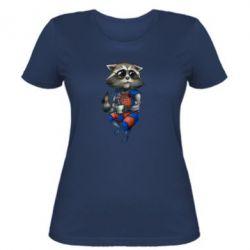 Женская футболка Енот Ракета и Грут