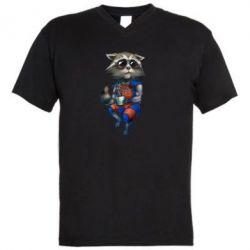 Мужская футболка  с V-образным вырезом Енот Ракета и Грут - FatLine