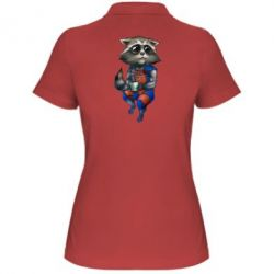 Женская футболка поло Енот Ракета и Грут - FatLine