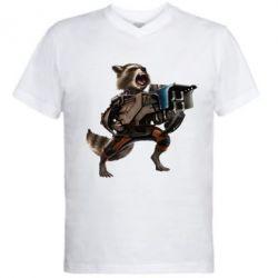 Мужская футболка  с V-образным вырезом Енот Стражи Галактики