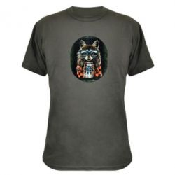 Камуфляжная футболка Енот в очках - FatLine