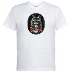 Мужская футболка  с V-образным вырезом Енот в очках - FatLine