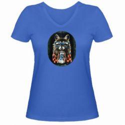 Женская футболка с V-образным вырезом Енот в очках - FatLine