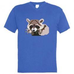 Мужская футболка  с V-образным вырезом Eнот вектор
