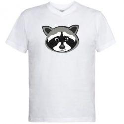 Мужская футболка  с V-образным вырезом Енотик - FatLine