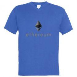 Мужская футболка  с V-образным вырезом Ethereum